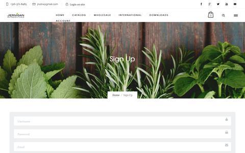 Screenshot of Signup Page jnutra.com - Sign Up   Jernigan Nutraceuticals - captured Dec. 10, 2017