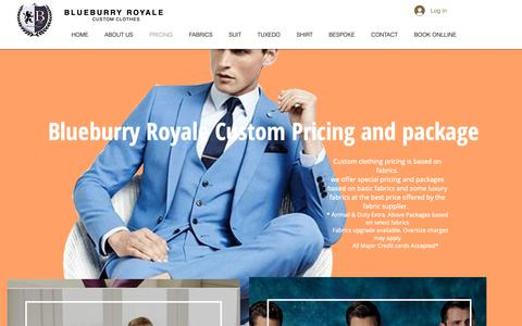 Screenshot of Pricing Page blueburryroyale.com - Blueburry Royale Custom Clothes | Pricing - captured March 30, 2019