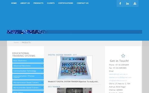 Screenshot of Products Page labelectronics.com - PRODUCTS - captured July 13, 2018