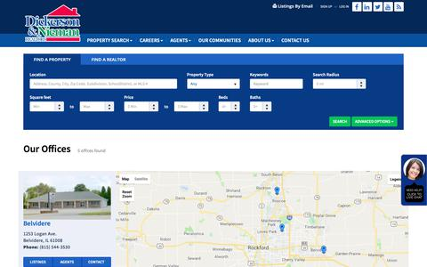 Screenshot of Locations Page dickersonnieman.com - Rockford Homes For Sale   Rockford Homes   Homes For Sale In Rockford - Dickerson Nieman - captured Oct. 9, 2018