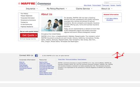 Screenshot of About Page commerceinsurance.com - About Us & Our Agents | The Commerce Insurance Company - captured Oct. 28, 2014