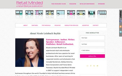 Screenshot of retailminded.com - About Nicole Leinbach Reyhle - captured March 29, 2017