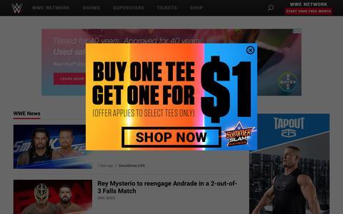 Screenshot of Press Page wwe.com - WWE News | WWE - captured Aug. 12, 2019