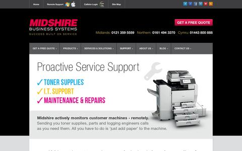 Screenshot of Home Page Support Page midshire.co.uk - Photocopiers | Colour Copiers | Multi Functional Copiers | Birmingham Photocopiers | Midlands Photocopiers - captured Sept. 30, 2014