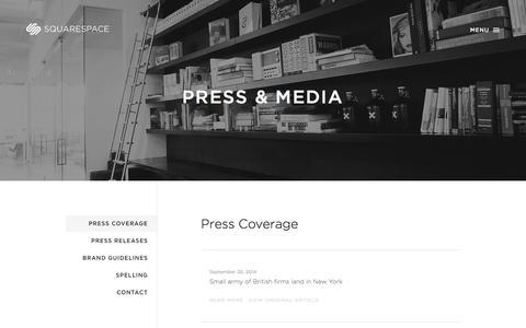 Screenshot of Press Page squarespace.com - Press Coverage — Squarespace - captured Oct. 29, 2014