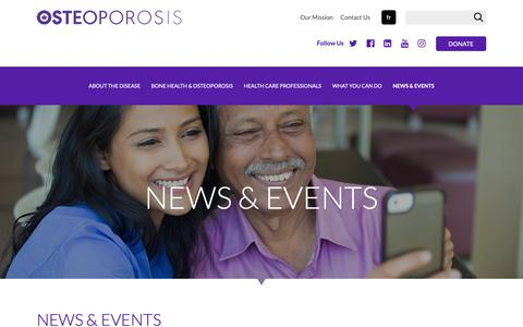 Screenshot of Press Page osteoporosis.ca - News & Events | Osteoporosis Canada - captured Oct. 18, 2018