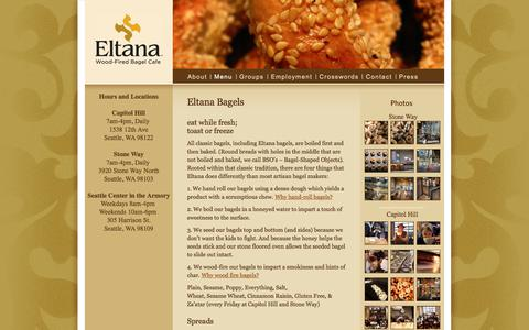 Screenshot of Menu Page eltana.com - Menu  |  Eltana | Wood-Fired Bagel Cafe | Seattle, WA - captured July 18, 2018