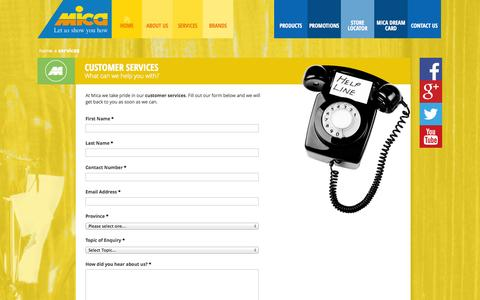 Screenshot of Services Page mica.co.za - Customer Services | Complete The Form And We Will Assist You - captured Nov. 3, 2014