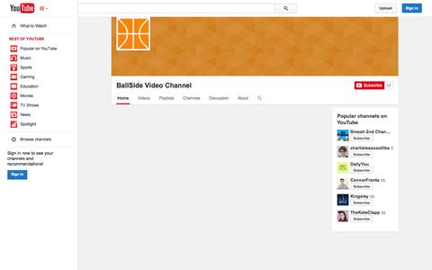 Screenshot of YouTube Page youtube.com - BallSide Video Channel  - YouTube - captured Oct. 30, 2014