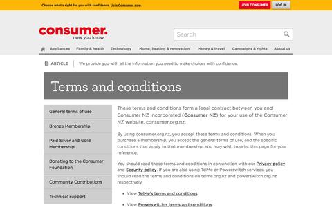 Screenshot of Terms Page consumer.org.nz - Terms and conditions - Consumer NZ - captured Jan. 19, 2016