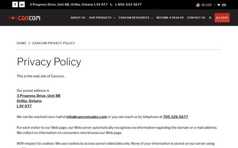 Screenshot of Privacy Page cancomradioaccessories.com - Privacy Policy - CanCom Radio Accessories Orillia - captured Sept. 25, 2018