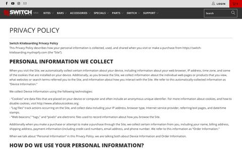 Screenshot of Privacy Page switchkites.com - Privacy Policy - Switch Kiteboarding US - captured Nov. 7, 2018