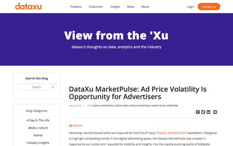 Screenshot of Pricing Page dataxu.com - DataXu MarketPulse: Ad Price Volatility Is Opportunity for Advertisers - dataxu, inc. - captured Nov. 18, 2019