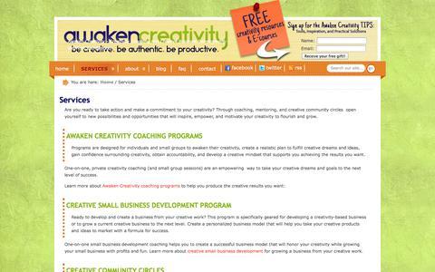 Screenshot of Services Page awakencreativity.com - Creative Coaching Services - Creativity Coaching Services  | Awaken Creativity - captured Sept. 30, 2014