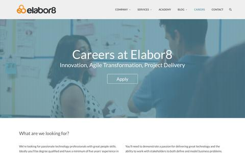 Screenshot of Jobs Page elabor8.com.au - Careers at Elabor8 - captured July 12, 2016