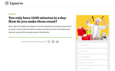 Screenshot of Landing Page upserve.com - Holiday Time Management Webinar | Upserve - captured Feb. 10, 2017