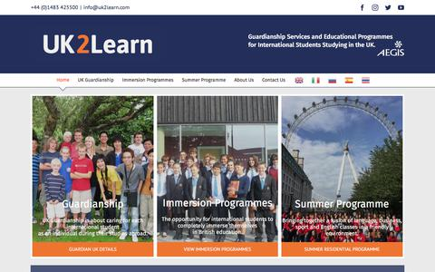 Screenshot of Home Page uk2learn.com - UK2Learn: UK Educational Programmes and Guardianship Services - captured July 26, 2018