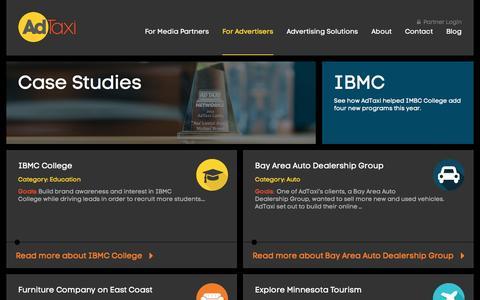 Screenshot of Case Studies Page adtaxinetworks.com - Digital Advertising Case Studies | AdTaxi - captured Dec. 23, 2015