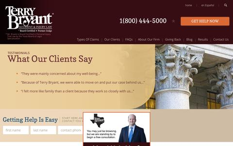 Screenshot of Testimonials Page terrybryant.com - Houston Attorney Testimonials | What Our Clients Say - captured July 18, 2018