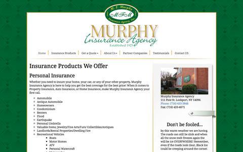 Screenshot of Products Page murphysinsurance.com - Mary Murphy Insurance Agency - captured Jan. 21, 2018