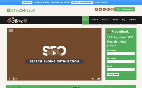 Screenshot of Home Page prcaffeine.com - Minnesota SEO Company | PR Caffeine - captured Jan. 16, 2016