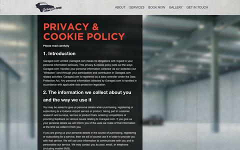 Screenshot of Privacy Page garaged.com - Privacy Policy | Welcome to Garaged.comWelcome to Garaged.com - captured Oct. 2, 2014