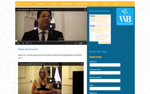 Screenshot of Testimonials Page working-breakfast.com - Testimonials | WB New - captured Feb. 26, 2016