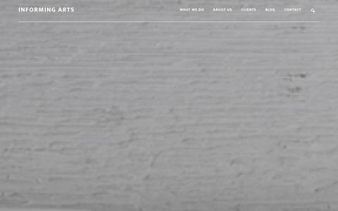 Screenshot of Home Page informing-arts.com - Informing Arts � Corporate website for Informing Arts - captured Jan. 8, 2016
