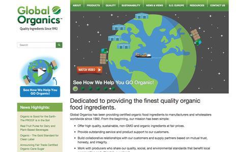Screenshot of Home Page global-organics.com - Global Organics - Certified Organic Food Ingredients - Non-GMO Ingredients - captured Jan. 27, 2018