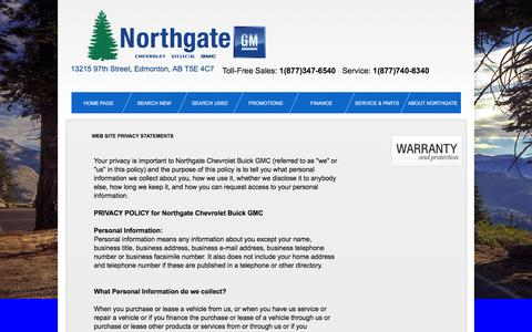 Screenshot of Privacy Page northgategm.com - Privacy Policy of Northgate Chevrolet Buick GMC - captured March 8, 2016