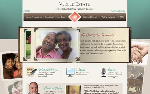 Screenshot of Home Page verbleseniorsolutions.com - Verble Estate Preservation & Advisors, LLC. - captured Feb. 23, 2016