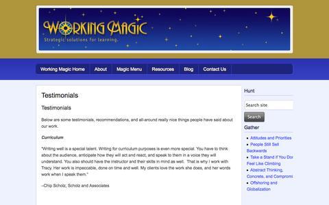 Screenshot of Testimonials Page workingmagic.net - Testimonials - Working Magic - captured Oct. 9, 2014