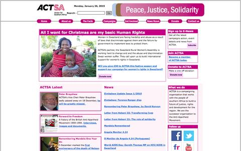 Screenshot of Home Page actsa.org - ACTSA - Southern African campaigning organisation - captured Jan. 26, 2015