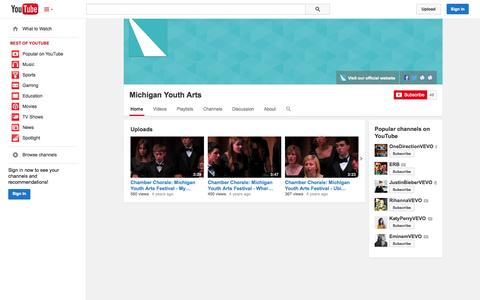 Screenshot of YouTube Page youtube.com - Michigan Youth Arts  - YouTube - captured Oct. 27, 2014