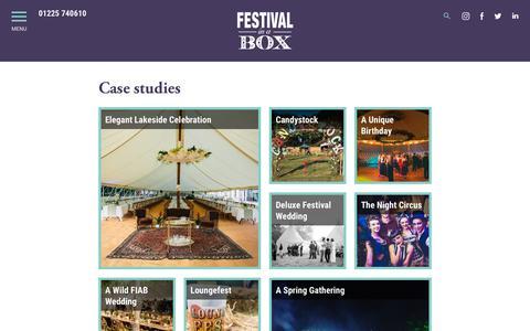 Screenshot of Case Studies Page festivalinabox.co.uk - Case studies - Festival in a Box : Festival in a Box - captured Oct. 10, 2018