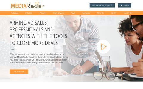 Screenshot of Home Page mediaradar.com - MediaRadar Ad Sales Intelligence   MediaRadar - captured Feb. 21, 2018