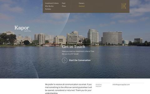 Screenshot of Contact Page kaporcapital.com - Contact | Kapor Capital - captured Jan. 9, 2016