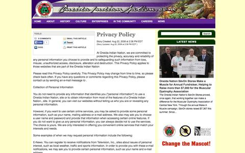 Screenshot of Privacy Page oneidaindiannation.com - Privacy Policy                                                  |  Oneida Indian Nation                                           |                Terms of Use and Privacy Policy - captured Oct. 26, 2014