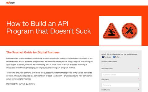 Screenshot of Landing Page apigee.com - How to Build an API Program that Doesn't Suck - captured Oct. 1, 2016