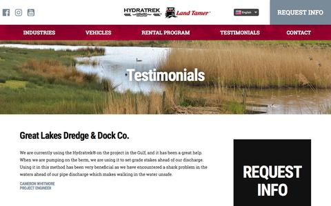 Screenshot of Testimonials Page hydratrek.com - Amphibious Vehicle Testimonials | Amphibious ATV Testimonials - captured Sept. 20, 2017