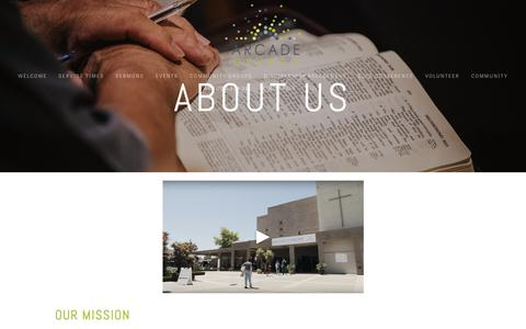 Screenshot of About Page arcadechurchonline.com - About Us — Arcade Church - captured Oct. 4, 2018