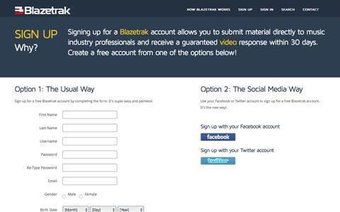 Screenshot of Signup Page blazetrak.com - Blazetrak | Direct video responses from music industry professionals - captured July 29, 2016