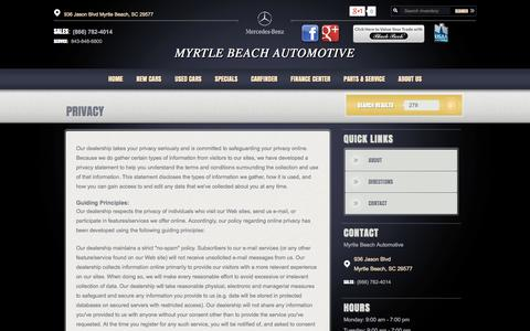 Screenshot of Privacy Page myrtlebeachautomotive.com - Myrtle Beach Automotive | New BMW, Mercedes-Benz dealership in Myrtle Beach, SC 29577 - captured Oct. 6, 2014