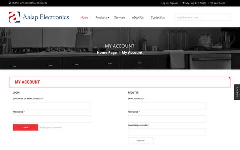 Screenshot of Signup Page Login Page aalap.com - Aalap Electronics | My Account - captured Feb. 5, 2016