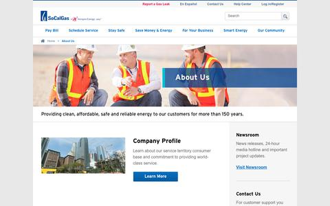 Screenshot of About Page socalgas.com - About Us | SoCalGas - captured Sept. 23, 2019