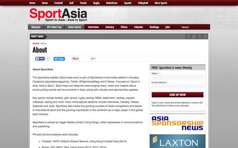 Screenshot of About Page sport-asia.com - About - Sport Asia - captured June 13, 2016