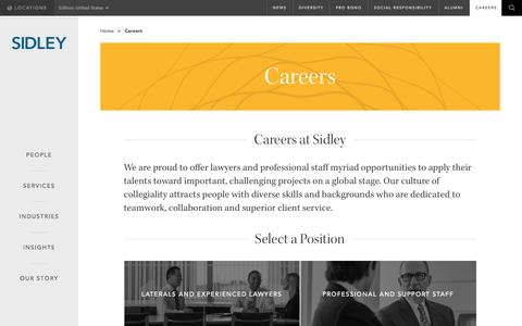 Screenshot of Jobs Page sidley.com - Careers | Sidley Austin LLP - captured July 19, 2017