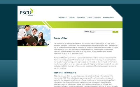 Screenshot of Terms Page pscu.com - Terms of Use | PSCU - captured Sept. 18, 2014