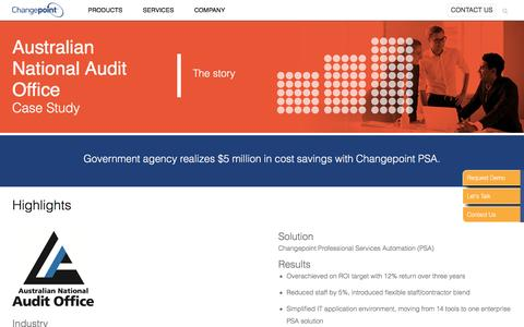 Screenshot of Case Studies Page changepoint.com - Australian National Audit Office Case Study | Resources | Changepoint - captured March 23, 2017