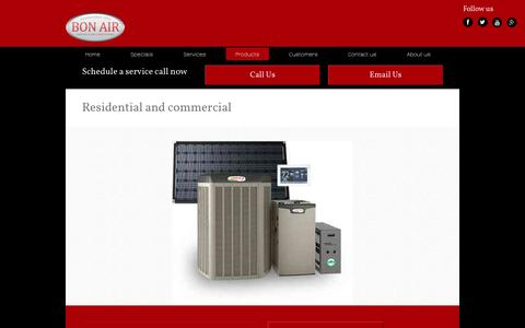 Screenshot of Products Page bonairservice.com - Products - Bon Air Service Company based in Grand Prairie and serving Dallas/Fort Worth and surrounding areas - captured Feb. 7, 2016
